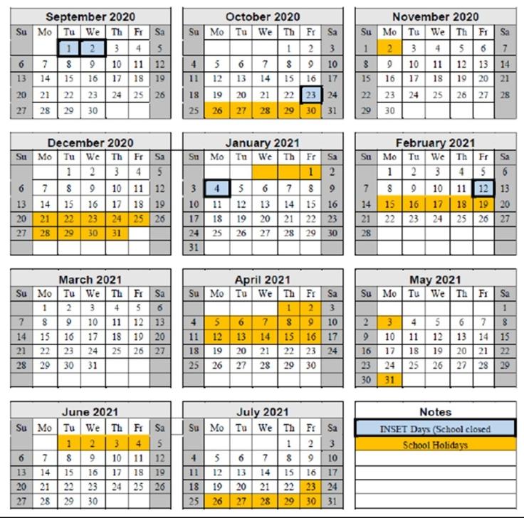 Term dates 2020-2021