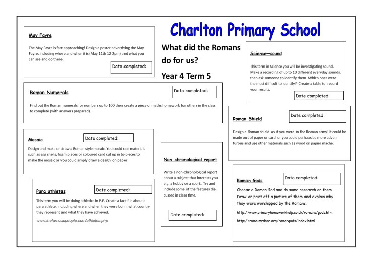 Homelearning Y4 T5 Romans 2019