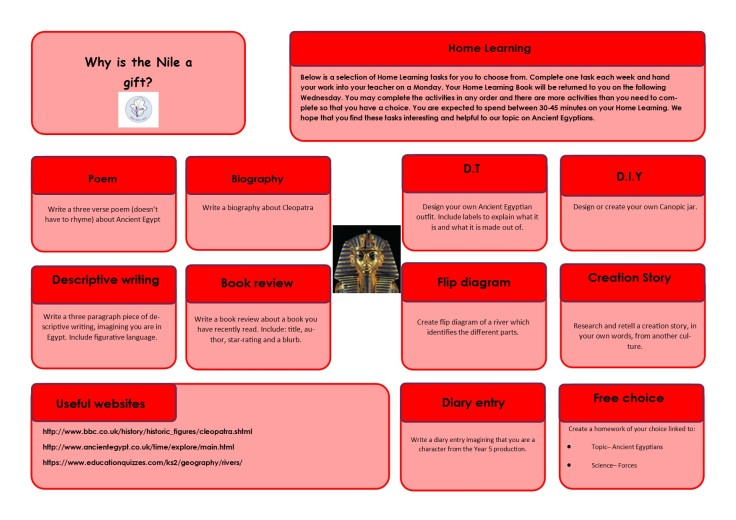 Homelearning Y5 term 5
